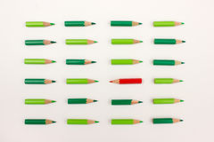 One red pen standing out agains crowd Royalty Free Stock Photography