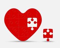 Red Piece Puzzle Heart. Jigsaw Love. Romantic. One Red Piece Puzzle Heart. Icon Vector Puzzle Illustration Isolated on White Background. Jigsaw Logotype royalty free illustration