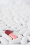 One red pill in many white pills. A single red capsule among many white tablets. Shallow depth of field Royalty Free Stock Image