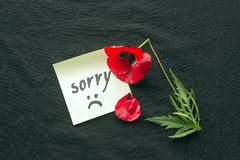 One red poppy flower broken on dark background. Note of apology- Sorry, please forgive me. Sad smiley face drawn in black. royalty free stock photo