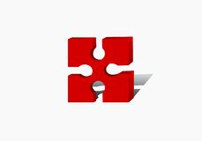 one red puzzle Stock Photos