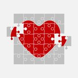 One Red Puzzle Heart. Jigsaw Love. Medical. One Red Piece Puzzle Heart. Icon Vector Puzzle Illustration Isolated on White Background. Jigsaw Logotype royalty free illustration