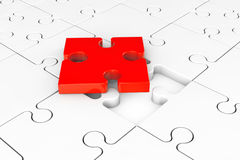 One red puzzle over group of white puzzles Royalty Free Stock Images