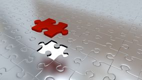 One Red Puzzle Piece above all other Silver Puzzle Pieces with o. Only One Red Puzzle Piece above all other Silver Puzzle Pieces with one missing piece vector illustration