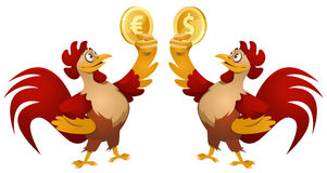 One red rooster holding dollar symbol and another red rooster  Stock Photography