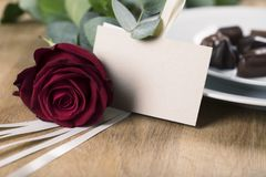 One Red Rose and Blank Card Royalty Free Stock Photo