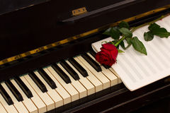 One red rose with notes paper on piano Stock Photo