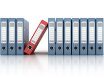 One red and the row of blue ring binders Stock Photos