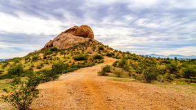 One of the red sandstone buttes of Papago Park near Phoenix Arizona Stock Photo