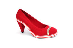 One red shoe with zipper. Red shoes of textured fabric on the heel, decorated with zipper Royalty Free Stock Photo