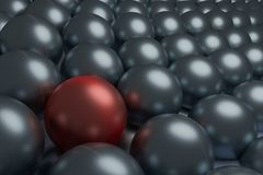 One red and  silver spheres, conceptual 3d render. One red and silver spheres, conceptual 3d render Stock Photography