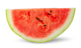 One red slice of ripe watermelon. Isolated on white background royalty free stock image