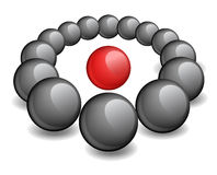 One red sphere is surrounded black Royalty Free Stock Photo