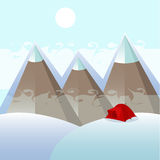 One red tent in the mountains, winter. The mountains with snowy peaks, the red tent on a snowdrift, winter tourism Stock Photo