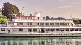 Passenger ship on the lake constance BSB at the jetty without guests. One of the red-white old double-decker Bodensee ships at a landing without KGAste. BSB stock photography