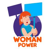 Crowd women feminist. One redhead young woman power feminist which keep a sign with a slogan take part in protest for freedom rights women. Vector icon isolated Royalty Free Stock Images