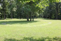 One of Replica Stone circle at Fort Ancient. Fort Ancient State Memorial is a collection of Native American Earthworks which is located in Ohio, United States Royalty Free Stock Image
