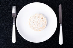 One rice waffle on a plate. Royalty Free Stock Photo
