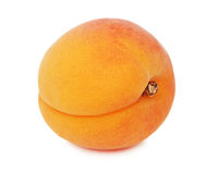 One ripe apricot (isolated). One ripe whole apricot isolated on white background Royalty Free Stock Photo