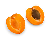 One ripe fresh apricot halves isolated on white background. One ripe apricot cut in halves with seed inside, isolated on white background. Closeup image of sweet stock image