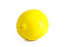One ripe lemon. Ripe lemon on a white background Royalty Free Stock Photo