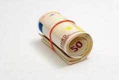 One roll of 50 euros Stock Photos