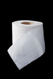 One roll of toilet paper isolated on black Royalty Free Stock Photos