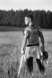 One Roman soldier in field. Stock Photography