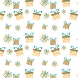 One romantic, seamless pattern with gifts with Stock Photo