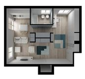 One room apartment flat top view, furniture and decors, plan, cross section interior design, architect designer concept idea, stock photo