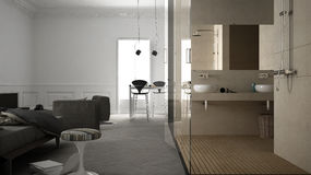 One-room apartment, interior design. One-room apartment, bathroom and bedroom, interior design Stock Photography