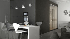 One-room apartment, interior design. 3d illustration Royalty Free Stock Photos