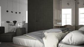 One-room apartment, interior design. 3d illustration Stock Photo