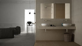 One-room apartment, interior design. One-room apartment, minimalistic interior design Royalty Free Stock Image