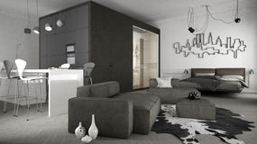One-room apartment, interior design. One-room apartment, minimalistic interior design Stock Images