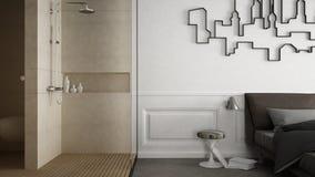 One-room apartment, interior design. One-room apartment, minimalistic interior design Stock Photos
