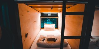 container hotel room royalty free stock photo