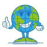 Earth show thump up. One round fun big cute smile blue world planet earth  which confidently stand in shoes and show a finger up, it like it. Modern vector style Stock Photo