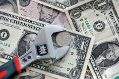 One ruble coin grip in a adjustable wrench Stock Photography