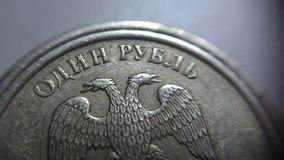 One ruble part. One russian ruble part coin macro Royalty Free Stock Photography
