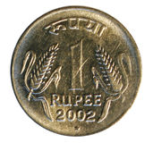 One rupee coin. Bank of India stock photos