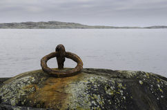 One rusty mooring loop for boat Stock Image