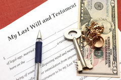 One's last will and testament with gold and money Royalty Free Stock Photography