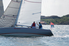 One sailing boat in a competition in sweden Royalty Free Stock Photos
