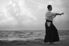 One samurai on seascape background Stock Photo