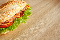 One sandwich with ham Royalty Free Stock Photography