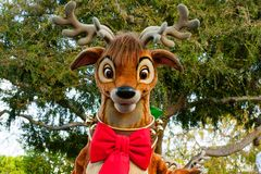 One of Santa's reindeer in a Disneyland Parade Stock Photo