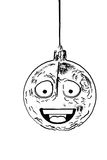 One scratch animated black and whiite round ornament for Christm Stock Image