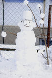 One sculpted a snowman Stock Photography