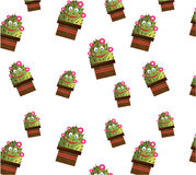 One seamless pattern with smiling cactus with face Stock Image